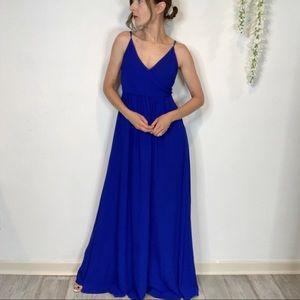 LULU'S cobalt blue maxi dress empire waist